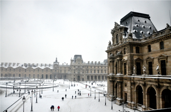 The courtyard in front of the Louvre Museum in Paris. To the left of the picture is the base of the famous Inverted Pyramid. © Dipankar Paul/FoloMojo