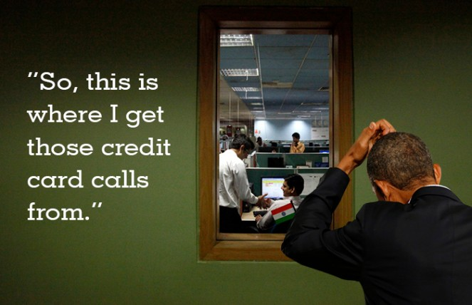Obama peers into a call centre. Image Source: Folomojo.com