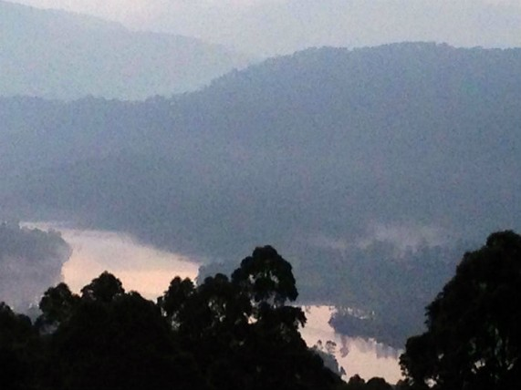 A view of the Anaiyarangal Lake at dawn, In Malayalam, 'anaiyarangal' means 'where the elephants come'. Taken from Chinnakanal, about 18  kms north east of Munnar.