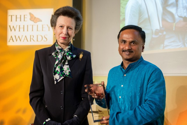The Princess Royal and 2015 Whitley Awards recipient Ananda Kumar, India at The Royal Geographical Society