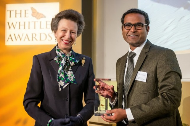 The Princess Royal and 2015 Whitley Awards recipient Pramod Pati, India at The Royal Geographical Society |Image source: whitelyaward.org