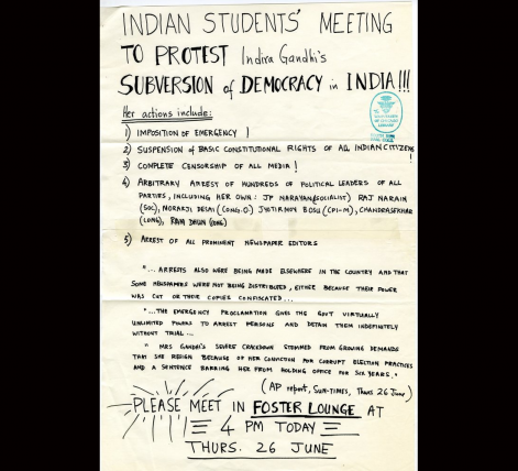 Anti-emergency movement received support from outside India as well, which is reflected in this pamphlet from the University of Chicago. | Image courtesy: saadigitalarchive.org