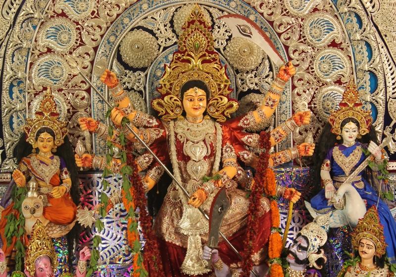 Goddess Durga at Shaikh Bazaar Puja Pandal
