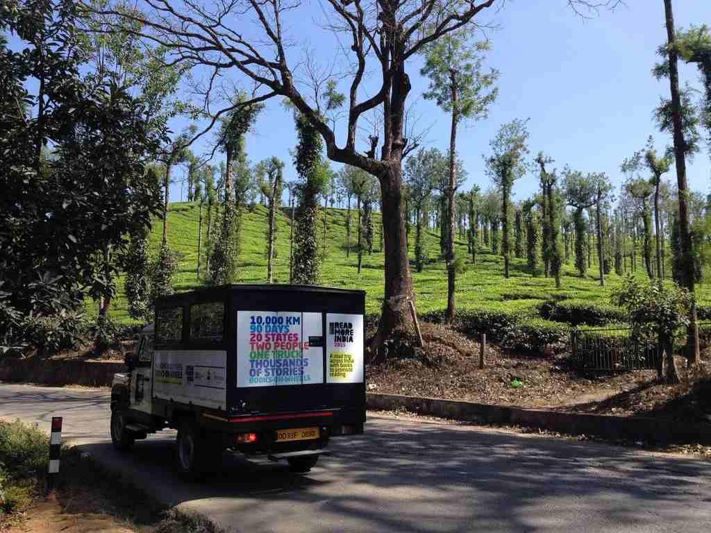 The Walking BookFairs truck at Tea Gardens in Nilambur, Mysore
