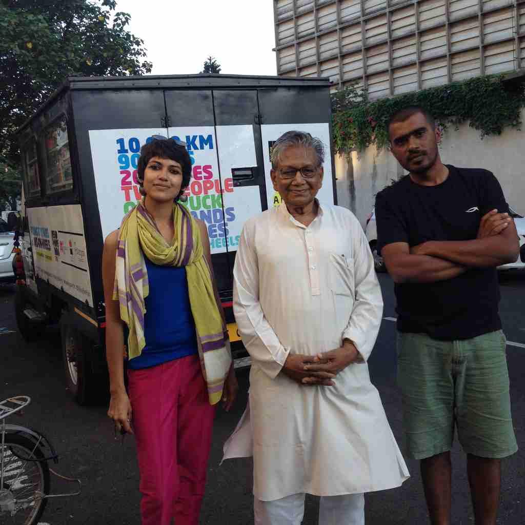 Shatabdi Mishra and Akshaya Routray along with eminent writer Manoj Das (center) in Pondicherry