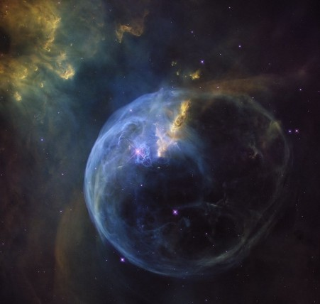 The Bubble Nebula, also known as NGC 7653, is an emission nebula located 8 000 light-years away. This stunning new image was observed by the NASA/ESA Hubble Space Telescope to celebrate its 26th year in space. Image courtesy: NASA/ESA